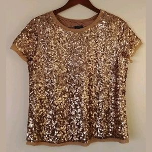 TALBOTS Women's Gold Sequins All Over Blouse 12